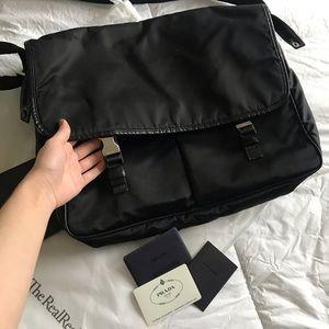 Prada Unisex Black Computer Messenger Travel Bag